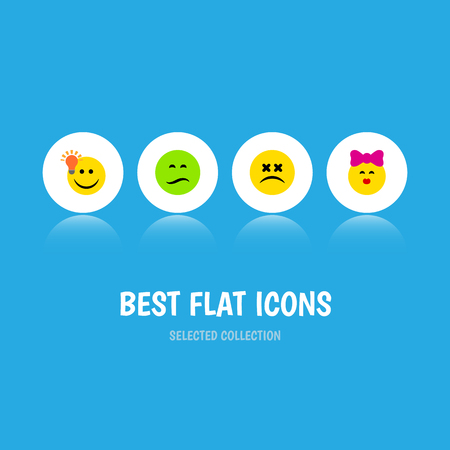 caress: Flat Icon Gesture Set Of Have An Good Opinion, Caress, Cross-Eyed Face And Other Vector Objects Illustration