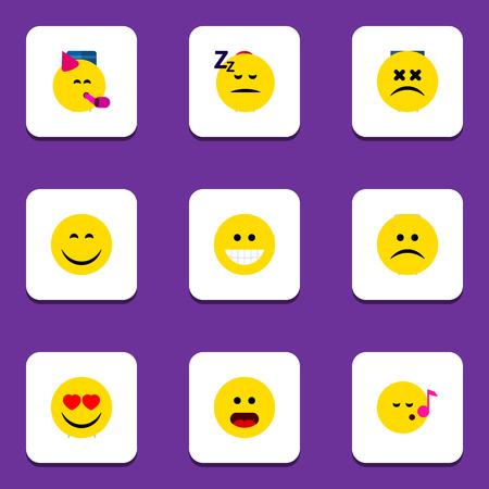 Emoji icône plate ensemble de Descant, triste, endormi et autres objets vectoriels