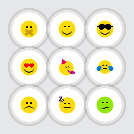 Conjunto de gesto de ícone plana de Emoticon de tempo de festa, suor frio, amor e outros objetos de vetor