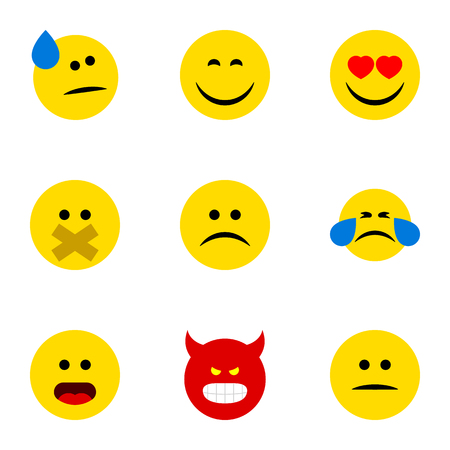 Flat Icon Face Set Of Love, Displeased, Wonder And Other Vector Objects Illustration