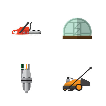 Flat Icon Farm Set Of Hothouse, Pump, Lawn Mower And Other Vector Objects