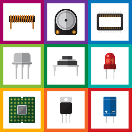 Flat Icon Device Set Of Bobbin, Hdd, Receiver And Other Vector Objects
