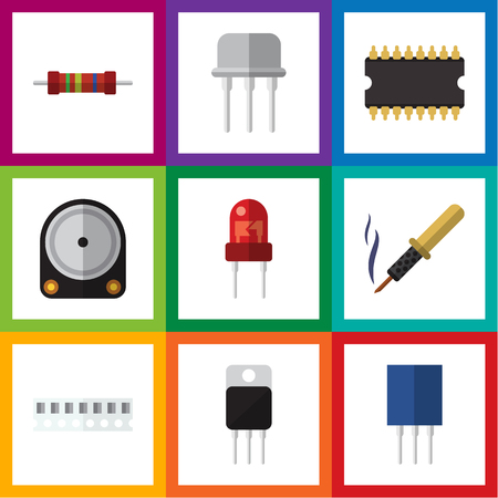 recipient: Flat Icon Technology Set Of Microprocessor, Receptacle, Recipient And Other Vector Objects