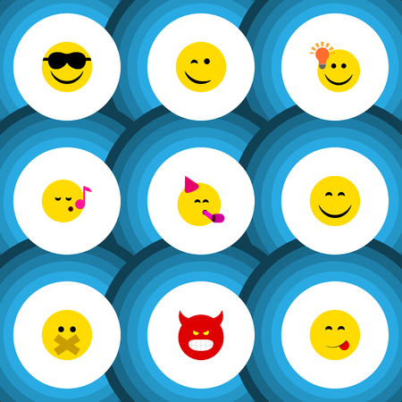 feel good: Flat Icon Face Set Of Smile, Have An Good Opinion, Happy And Other Vector Objects Illustration