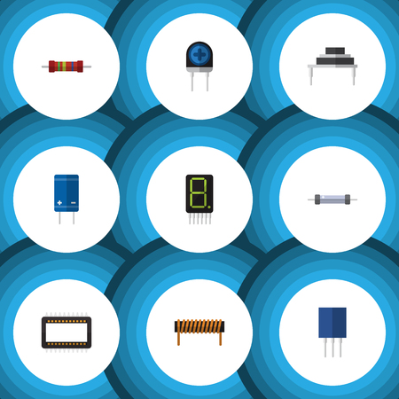 Flat Icon Device Set Of Bobbin, Resistance, Transistor And Other Vector Objects