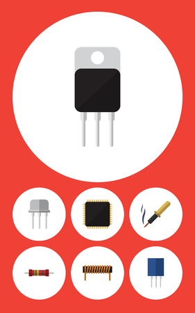 Flat Icon Technology Set Of Resistance, Bobbin, Repair And Other Vector Objects