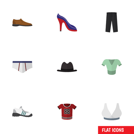 Flat Icon Garment Set Of Underclothes, Male Footware, Heeled Shoe And Other Vector Objects Illustration