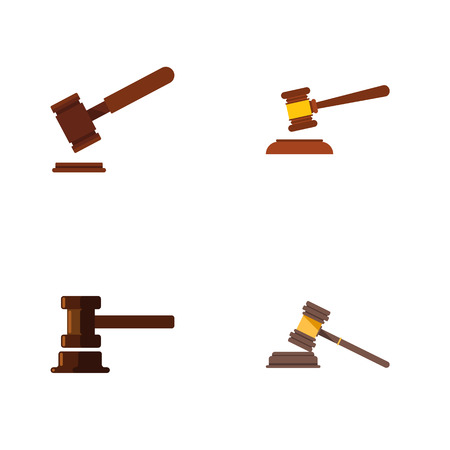 Flat Icon Court Set Of Court, Hammer, Justice And Other Vector Objects
