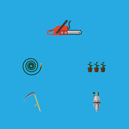 Flat Icon Farm Set Of Cutter, Pump, Hacksaw And Other Vector Objects Illustration