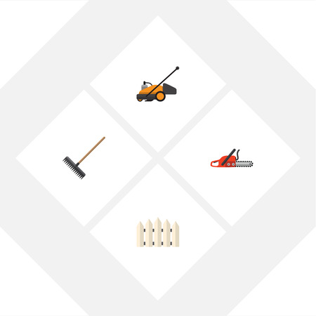 Flat Icon Dacha Set Of Harrow, Wooden Barrier, Lawn Mower And Other Vector Objects