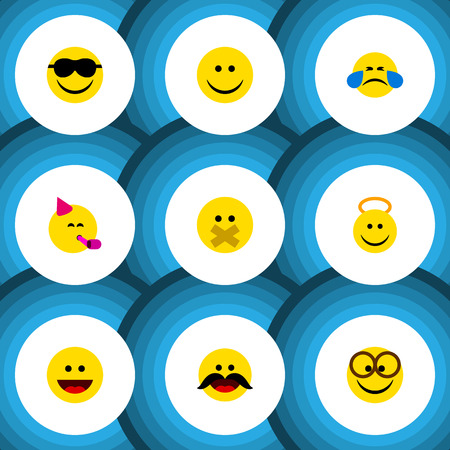 silent: Flat Icon Emoji Set Of Joy, Laugh, Angel And Other Vector Objects