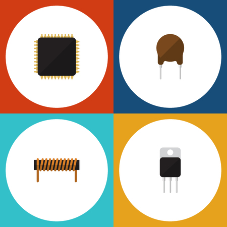 Flat Icon Electronics Set Of Cpu, Receiver, Bobbin And Other Vector Objects