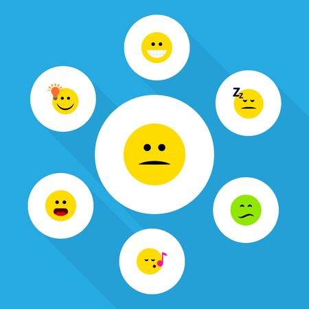 quandary: Flat Icon Expression Set Of Frown, Grin, Asleep And Other Vector Objects Illustration