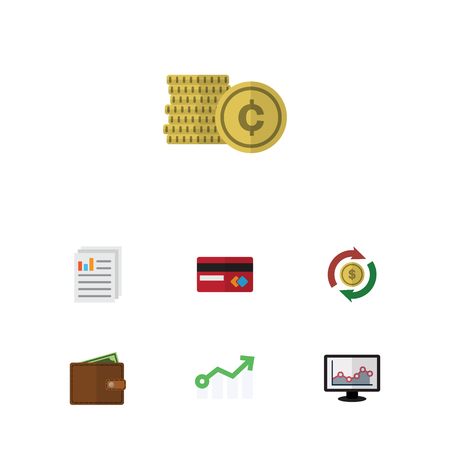 billfold: Flat Icon Finance Set Of Document, Payment, Billfold And Other Vector Objects