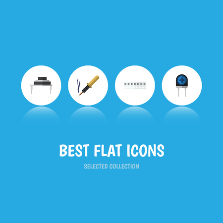 Flat Icon Technology Set Of Memory, Transducer, Destination And Other Vector Objects Illustration