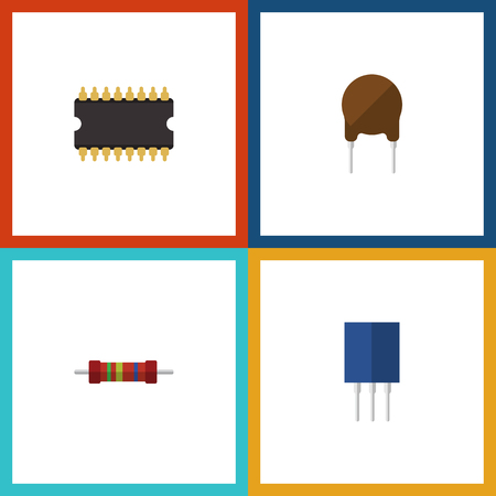 Flat Icon Appliance Set Of Receptacle, Triode, Microprocessor And Other Vector Objects