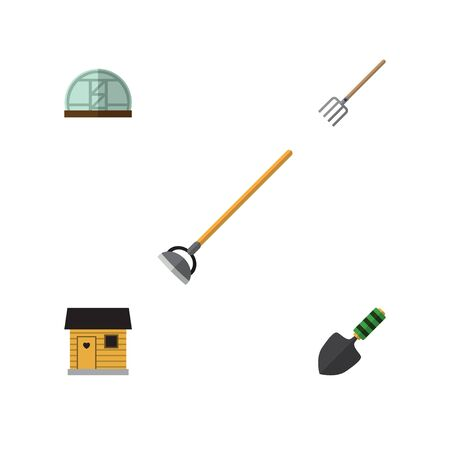 Flat Icon Dacha Set Of Tool, Trowel, Hothouse And Other Vector Objects