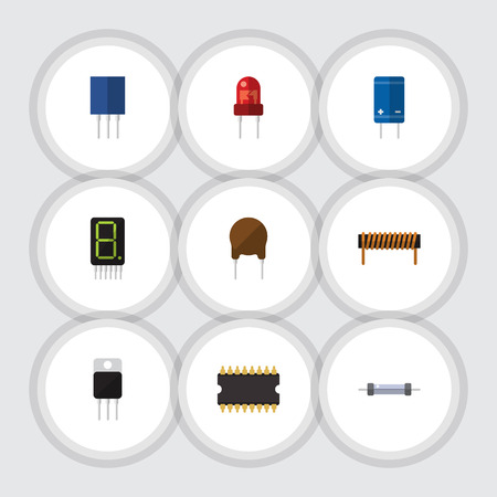 Flat Icon Electronics Set Of Resistor, Bobbin, Transistor And Other Vector Objects Illustration