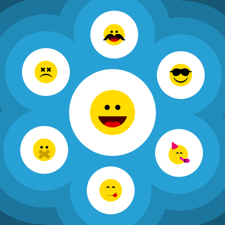 Flat Icon Face Set Of Party Time Emoticon, Laugh, Happy And Other Vector Objects Reklamní fotografie - 83488298