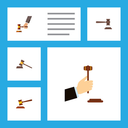 Set of flat courtroom icons