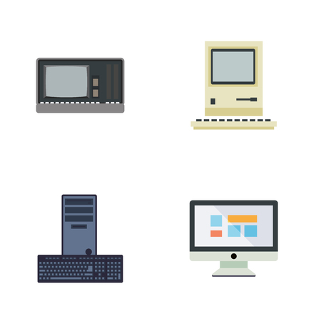 computerized: Set of flat vintage computer icons