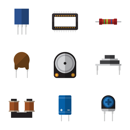 Set of flat electrical icons