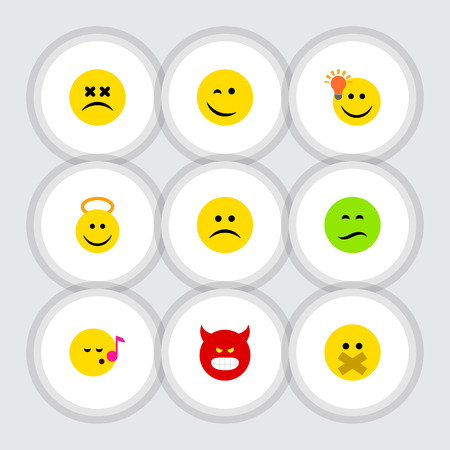 indignant: Set of different smiley types