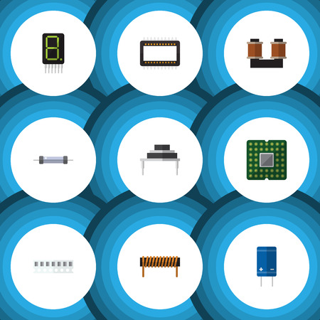 Set of flat technology components Illustration