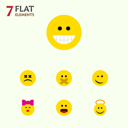 Flat Icon Face Set Of Hush, Grin, Winking And Other Vector Objects