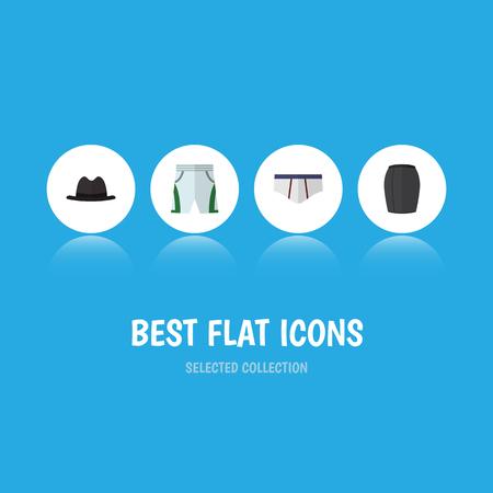 Icône plate vêtements ensemble d'habillement élégant, Panama, sous-vêtements et autres objets vectoriels Banque d'images - 83556535