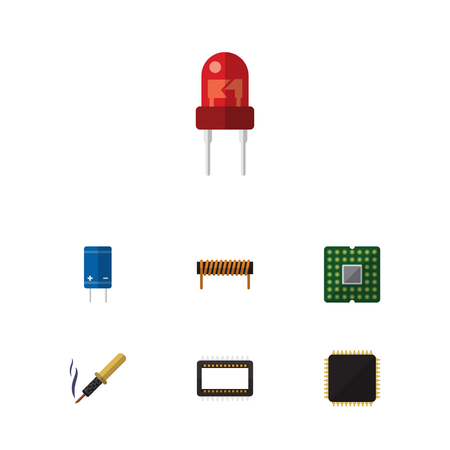 Flat Icon Appliance Set Of Recipient, Mainframe, Transistor And Other Vector Objects