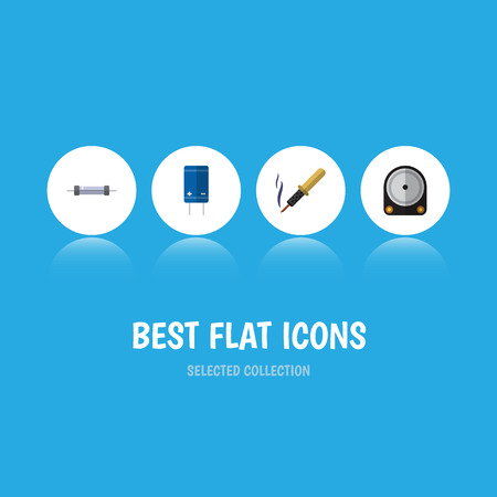 Flat Icon Device Set Of Transistor, Hdd, Resistor And Other Vector Objects Illustration