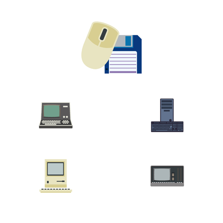 computerized: Flat Icon Computer Set Of Computer Mouse, Computing, Vintage Hardware And Other Vector Objects