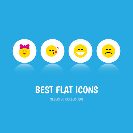 Flat Icon Gesture Set Of Descant, Sad, Grin And Other Vector Objects