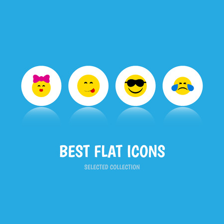 Flat Icon Expression Set Of Caress, Delicious Food, Cold Sweat And Other Vector Objects