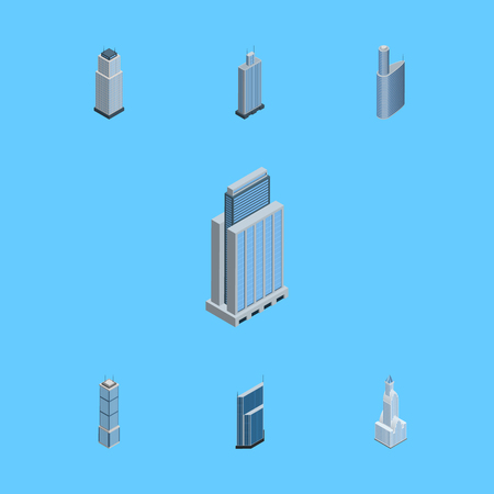 Isometric Construction Set Of Business Center, Urban, Apartment And Other Vector Objects