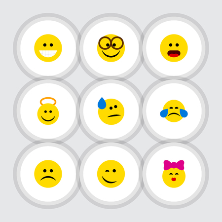caress: Flat Icon Emoji Set Of Pleasant, Tears, Caress And Other Vector Objects Illustration
