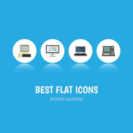 computerized: Flat Icon Computer Set Of Display, Technology, Computer And Other Vector Objects
