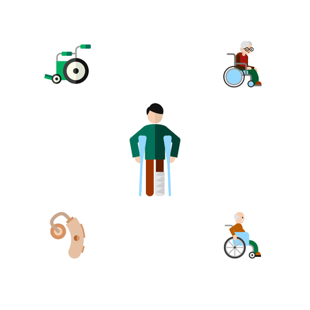 Flat Icon Disabled Set Of Injured, Handicapped Man, Wheelchair Vector Objects