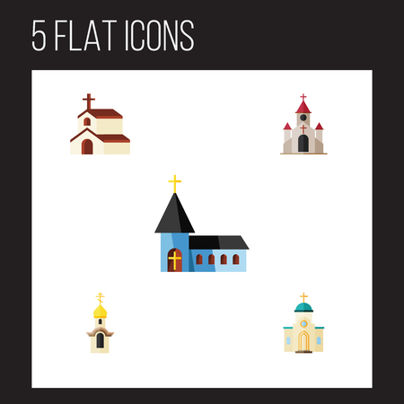 pink roof: Flat Icon Building Set Of Christian, Traditional, Religious And Other Vector Objects