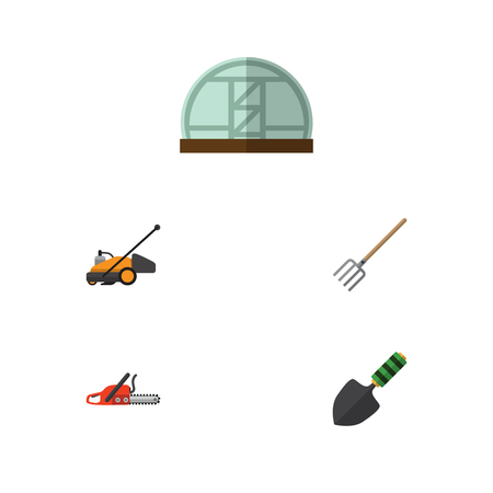 Flat Icon Farm Set Of Hothouse, Hay Fork, Trowel And Other Vector Objects