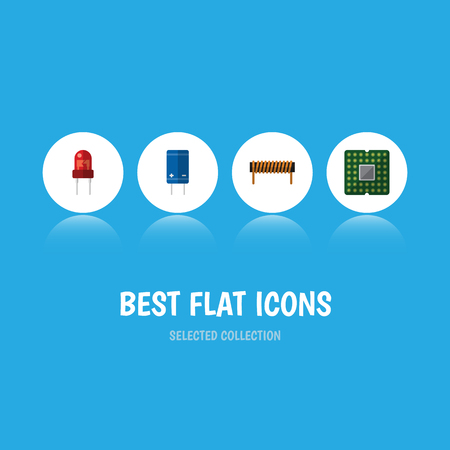 Flat Icon Device Set Of Unit, Bobbin, Transistor And Other Vector Objects
