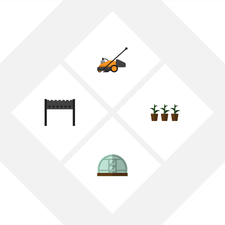 Flat Icon Dacha Set Of Flowerpot, Lawn Mower, Hothouse And Other Vector Objects Illustration