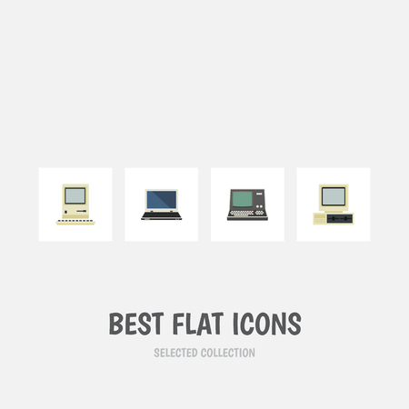 computerized: Flat Icon Computer Set Of Computer, Technology, Notebook And Other Vector Objects Illustration