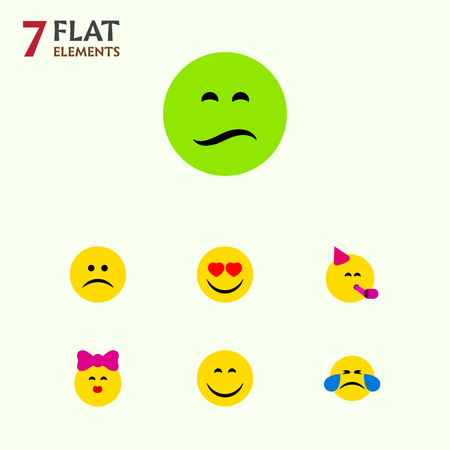 Flat Icon Emoji Set Of Cold Sweat, Frown, Party Time Emoticon And Other Vector Objects
