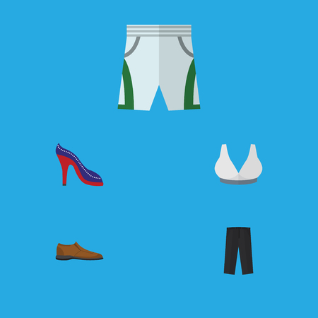 Flat Icon Clothes Set Of Trunks Cloth, Heeled Shoe, Male Footware And Other Vector Objects. Also Includes Breast, Cloth, Trunks Elements. Illustration