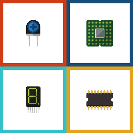 Flat Icon Electronics Set Of Microprocessor, Display, Transducer And Other Vector Objects. Also Includes Calculate, Calculator, Transistor Elements.