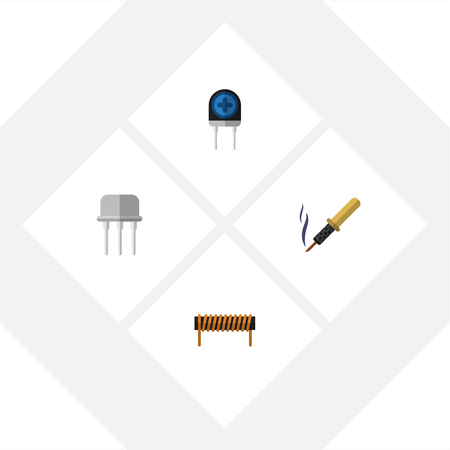 Flat Icon Technology Set Of Repair, Resist, Bobbin And Other Vector Objects. Also Includes Soldering, Semiconductor, Copper Elements.