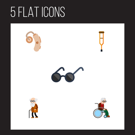 Flat Icon Cripple Set Of Wheelchair, Spectacles, Audiology And Other Vector Objects. Also Includes Sunglasses, Handicapped, Eyeglasses Elements.