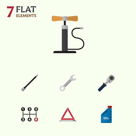 Flat Icon Service Set Of Petrol, Carrying, Pipeline And Other Vector Objects. Also Includes Key, Car, Oil Elements.
